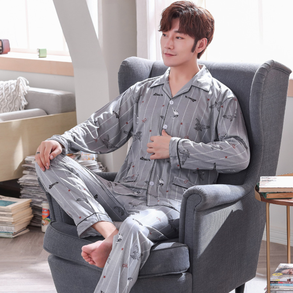 Men Comfortable Spring and Autumn Cotton Long Sleeve Casual Breathable Home Wear Set Pajamas 5637_XL