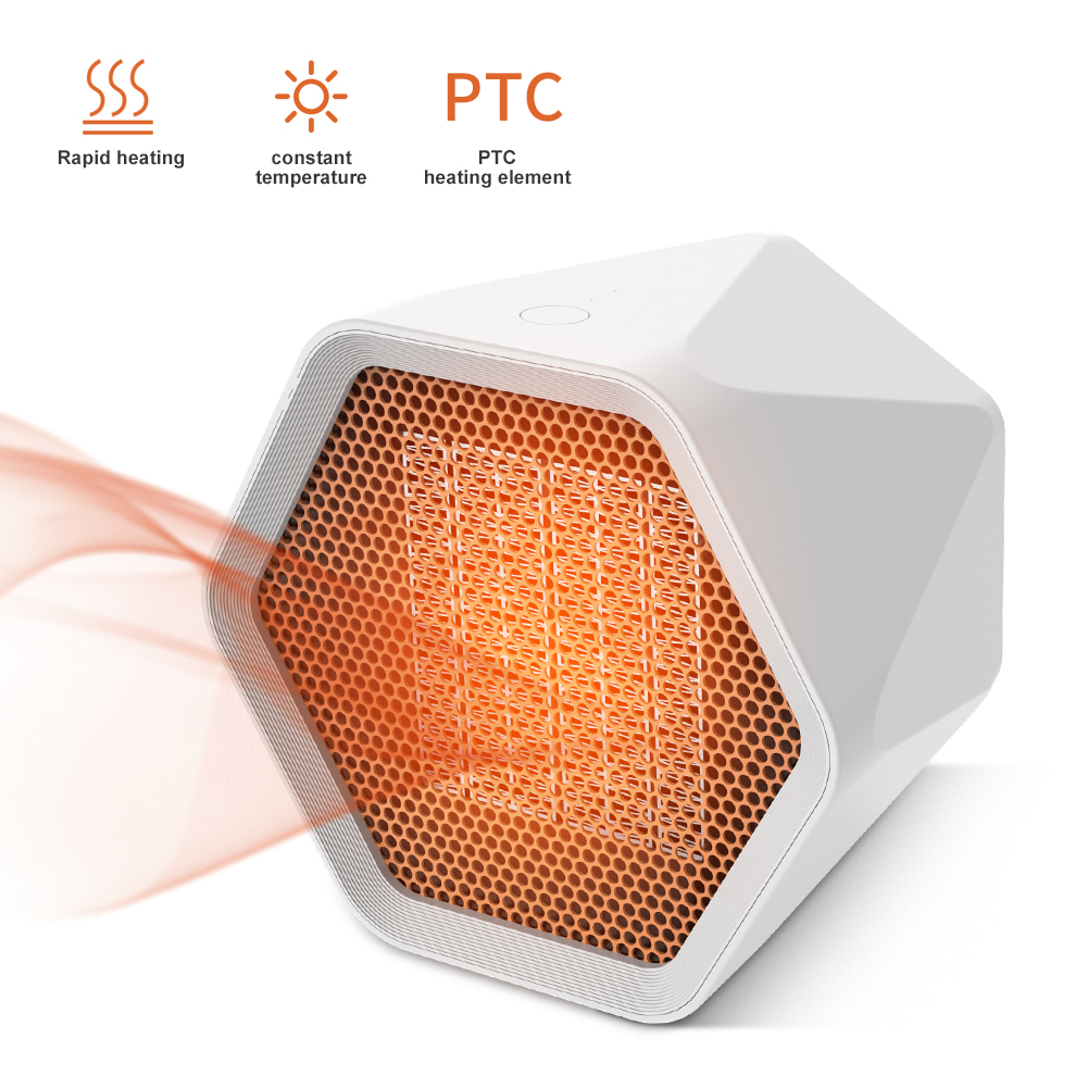 600w/1000w Portable Electric Air Heater Fan PTC Ceramic Heating Overheat Protection for Office Tabletop Home British plug