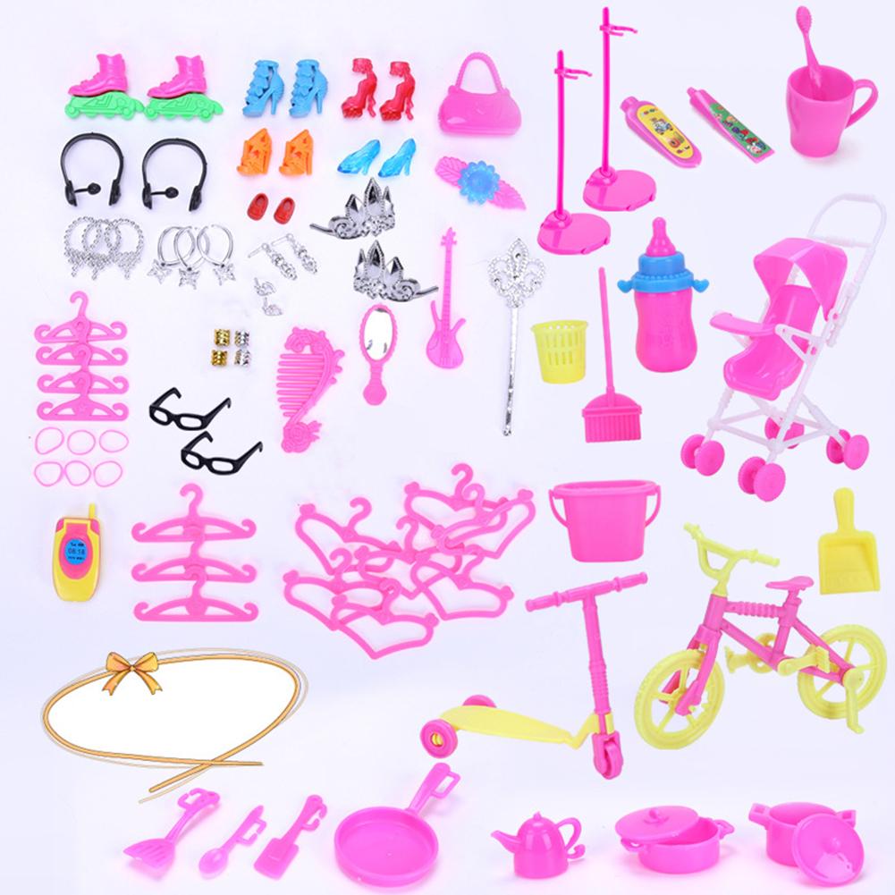 [Indonesia Direct] 98PCS/Set Accessories Set Shoes Bag Mirror Hanger Comb Necklace dolls Toys Kids Gift