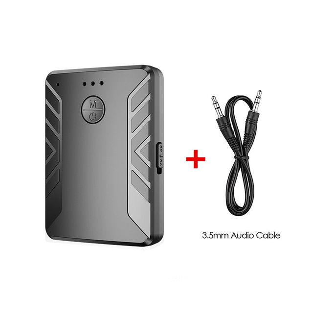 Bluetooth 5.0 Audio Transmitter Receiver Pair with TWO Headphones 3.5mm AUX RCA Wireless Adapter for TV PC Car Speaker black