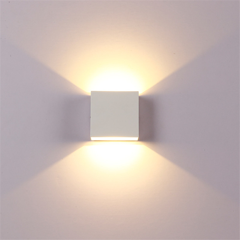 [Indonesia Direct] Adjustable 6W LED Wall Lamp AC85-265V COB Waterproof Aluminum Cube Outdoor Porch Wall Light  warm light
