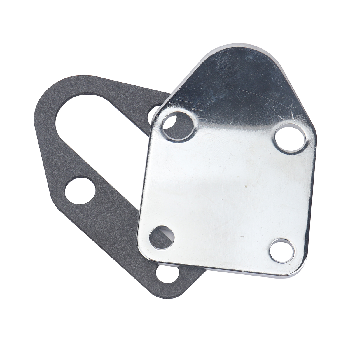 Small Block Fuel Pump Block Off Plate Chrome Steel For Chevy 283 305 327 350 383 400 Engines Silver