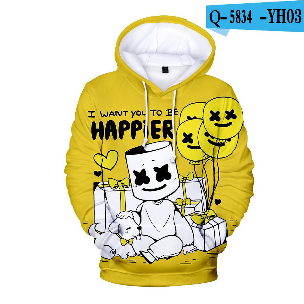 Men Women DJ Marshmello 3D Print Small Happy Face Balloon Long Sleeve Sport Hoodies Sweatshirt E style_S