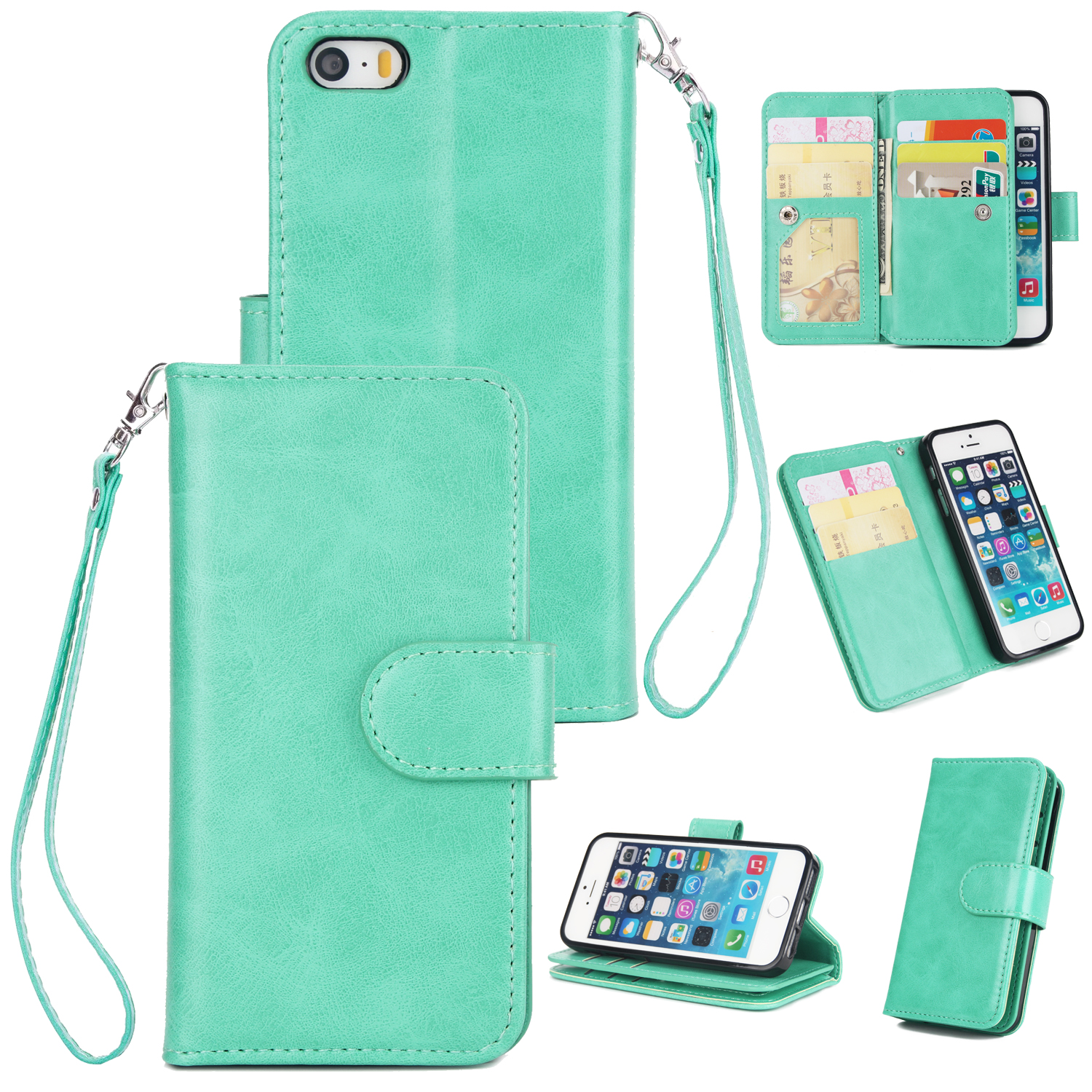 For iPhone 5/5S/SE PU Cell Phone Case Protective Leather Cover with Buckle & 9 Card Position & Lanyard & Bracket Mint color