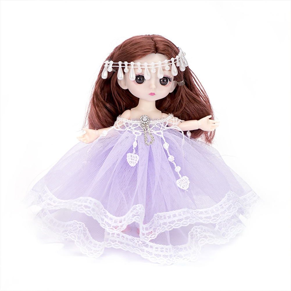18cm Bjd Joint  Doll Cute Style Clothes Simulation Princess Dress Up Toy For Kids Purple