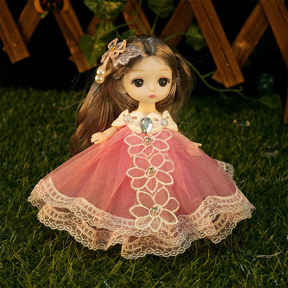 18cm Bjd Joint  Doll Cute Style Clothes Simulation Princess Dress Up Toy For Kids Red