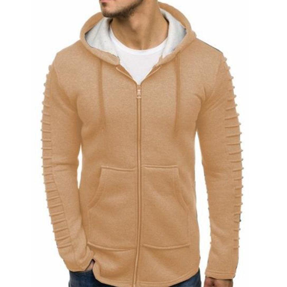 Men Strip Sweater Long Sleeve Casual Hooded Hoodie Outdoor Sports Jacket  Khaki_XXL