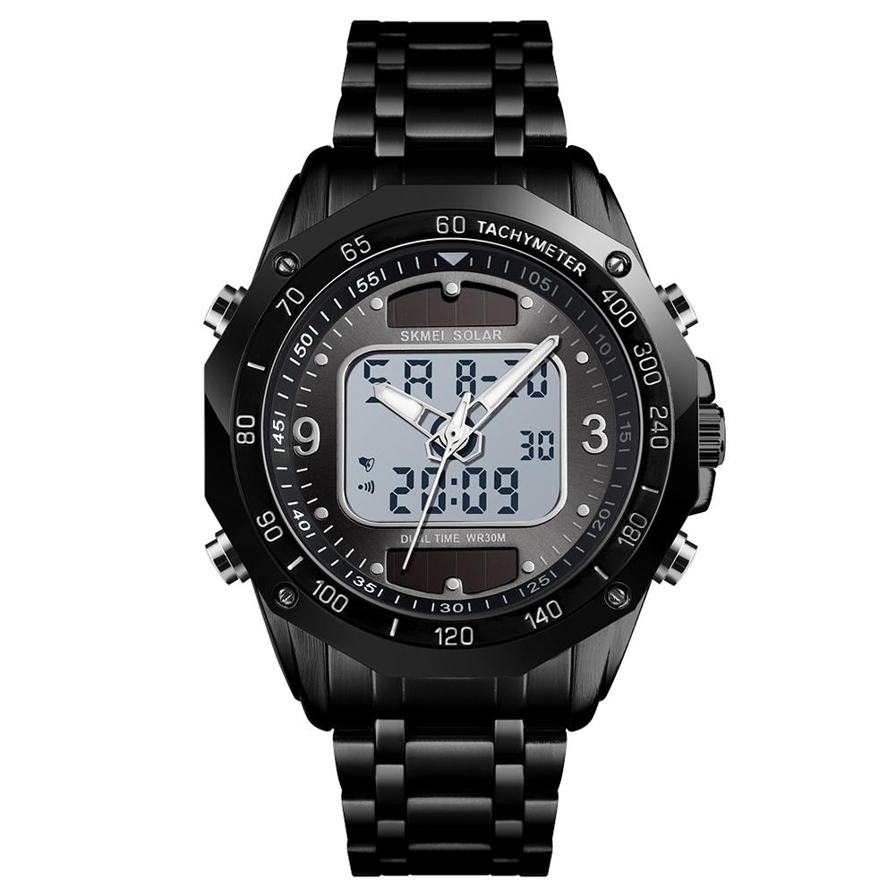 Original SKMEI Men Solar Quartz Digital Watch Dual Time Date Week Waterproof EL Light Alarm Sports Wristwatch Black