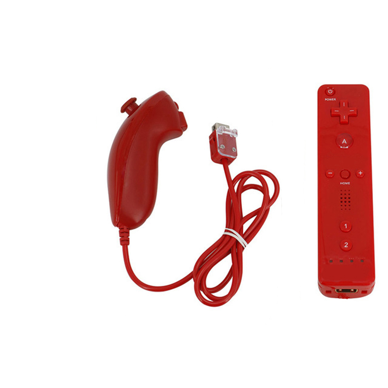 1 Set For WII Left and Right Handle Without Silicone No Hand Rope red