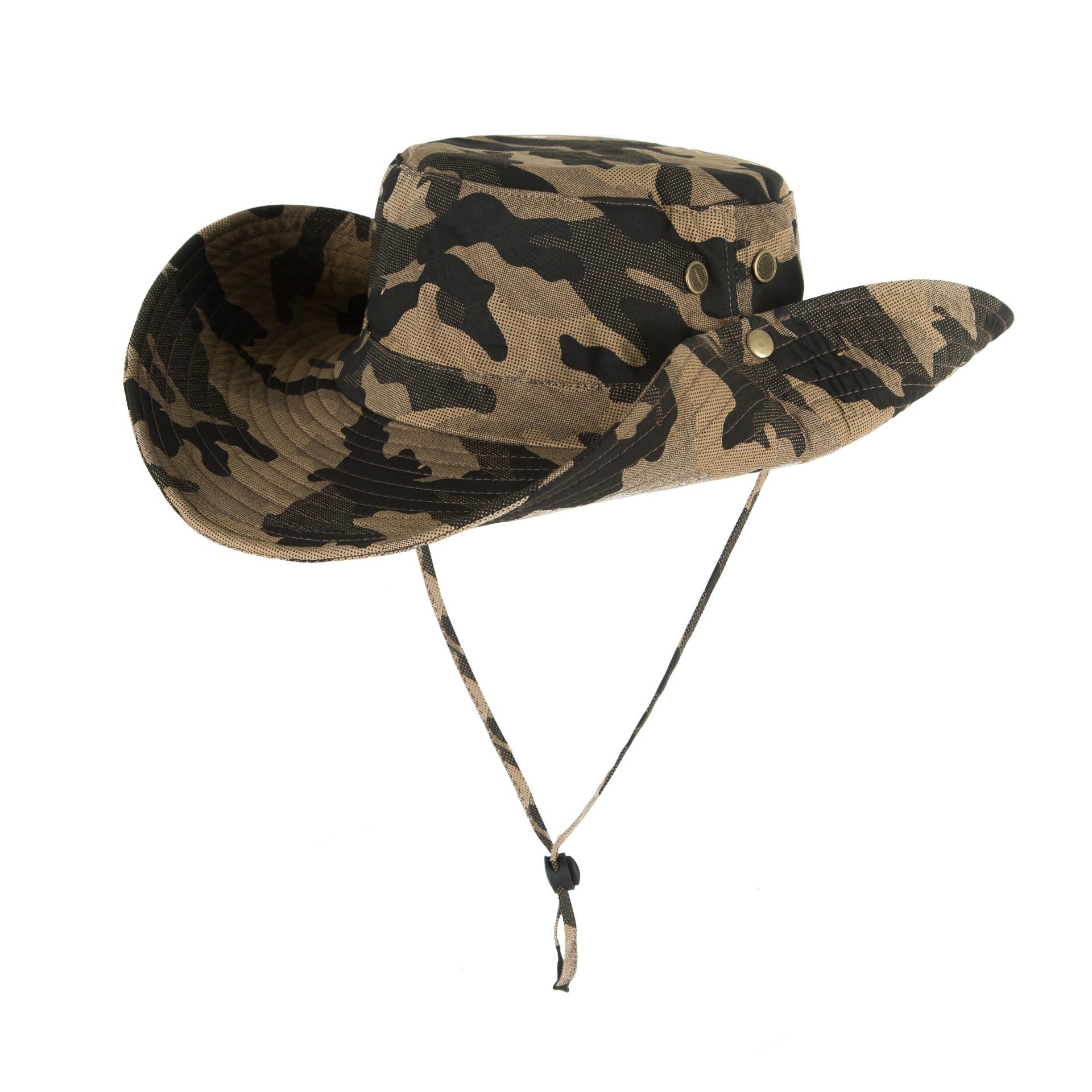 Men Women Summer Hat Outdoor Ultraviolet-proof Fisherman Hat for Travel Climbing Fishing Khaki camouflage