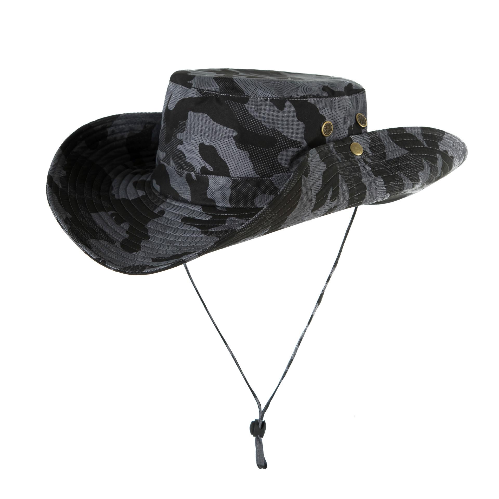 Men Women Summer Hat Outdoor Ultraviolet-proof Fisherman Hat for Travel Climbing Fishing Dark gray camouflage