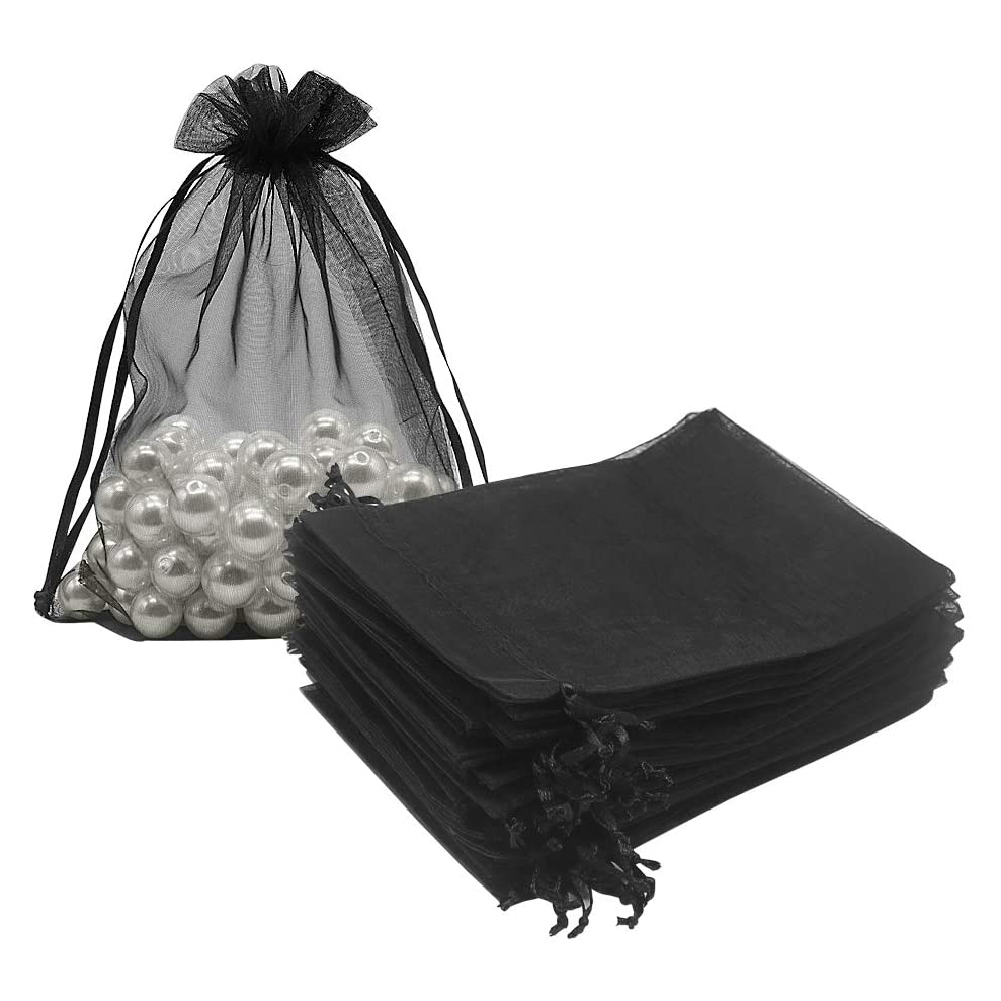 100Pcs Organza Bags Mesh Candy Bags Drawstring Jewelry Pouches for Present Wedding Giveaways 5in x 7in/ 13 x 18cm black