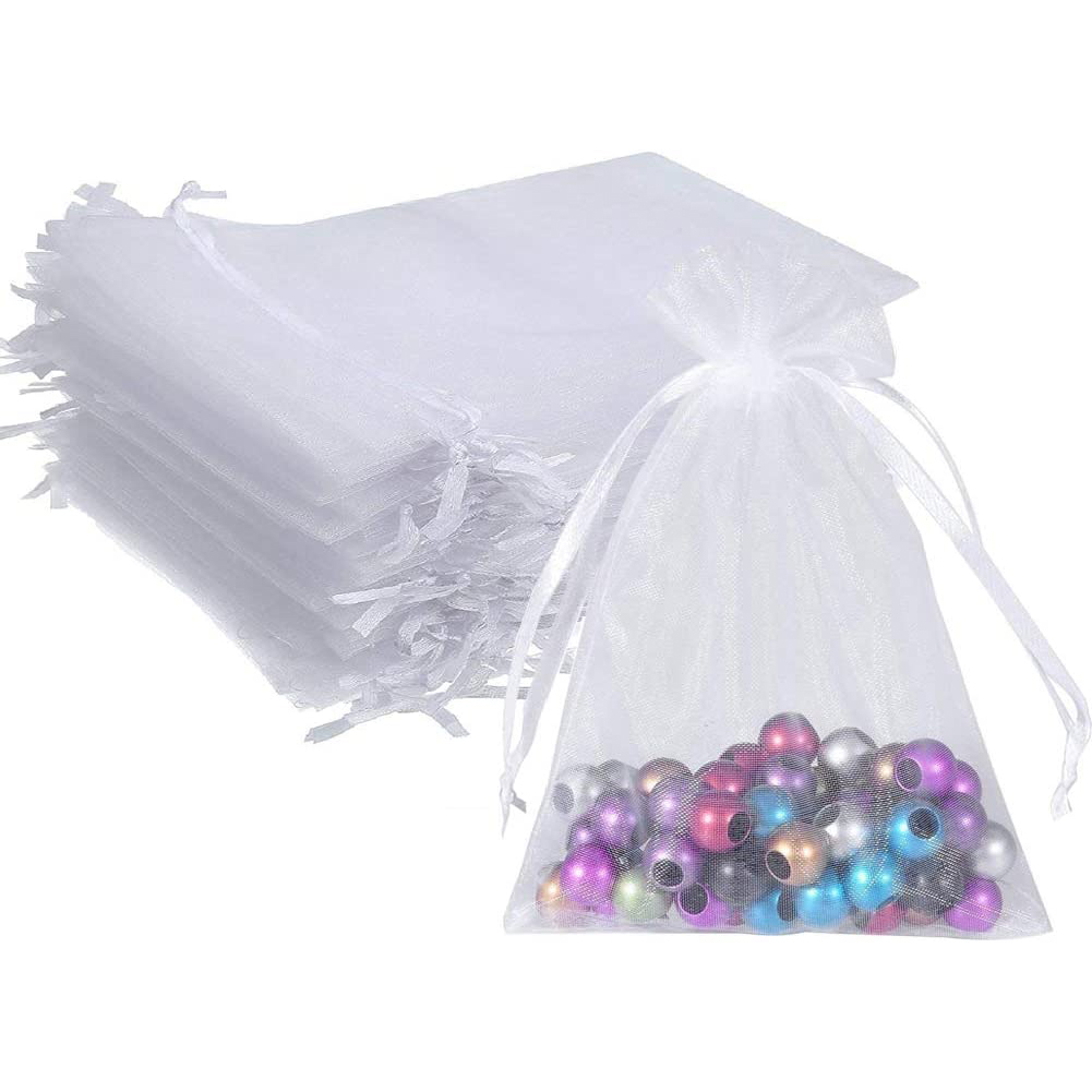 100Pcs Organza Bags Mesh Candy Bags Drawstring Jewelry Pouches for Present Wedding Giveaways 5in x 7in/ 13 x 18cm white