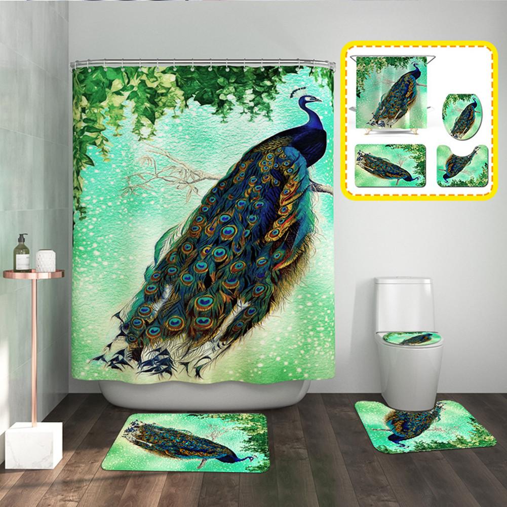 4pcs/set Bathroom Mat Carpet Shower Curtain Toilet Lid Cover Peocock Print Bathroom Set As shown_Set