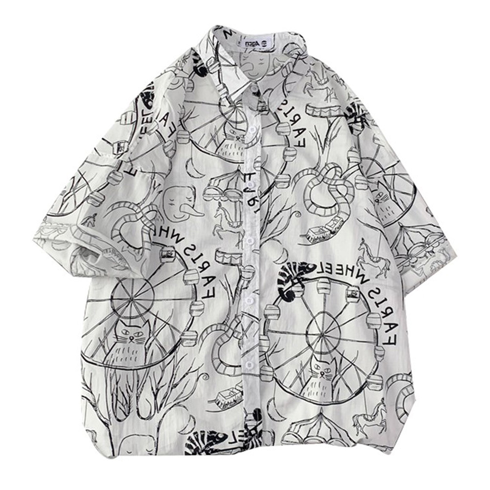 Women Men Leisure Shirt Personality Graffiti Printing Short Sleeve Retro Hawaii Beach Shirt Top Summer C115 #_XL