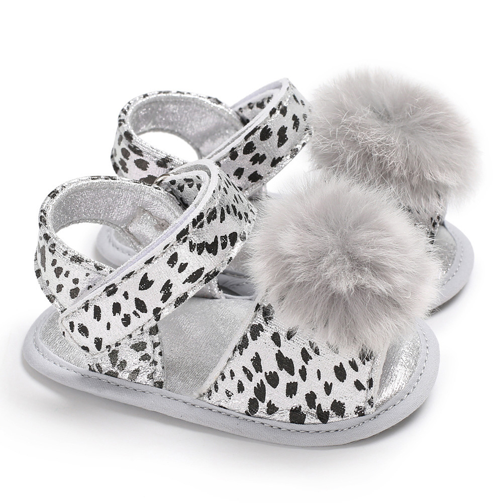 Baby Sandals Flat Shoes Soft Sole Leopard Plush Ball Magic Sticker for 0-1Y Toddler Infant White_11 cm