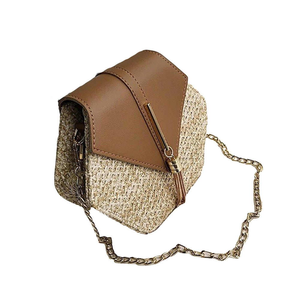 Women PU Hexagonal Straw Weaving Single Shoulder Chain Fringes Square Cross-Body Bag brown