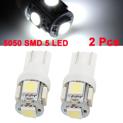 2 Pcs 12V White 5050 T10 5 SMD Auto LED Gauge Side Marker Bulb Light - General Application