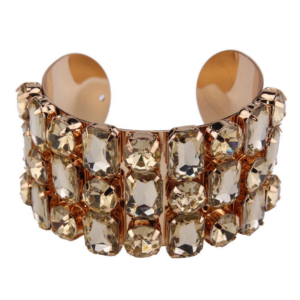 Wide Lxury Rhinestone Cuff Bracelets for Women Mun's Gift Golden