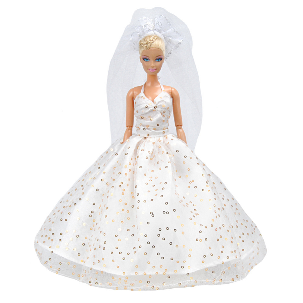 Doll Dress Luxury Wedding Dress + Suit+ Shoes Doll Accessories Long tail skirt