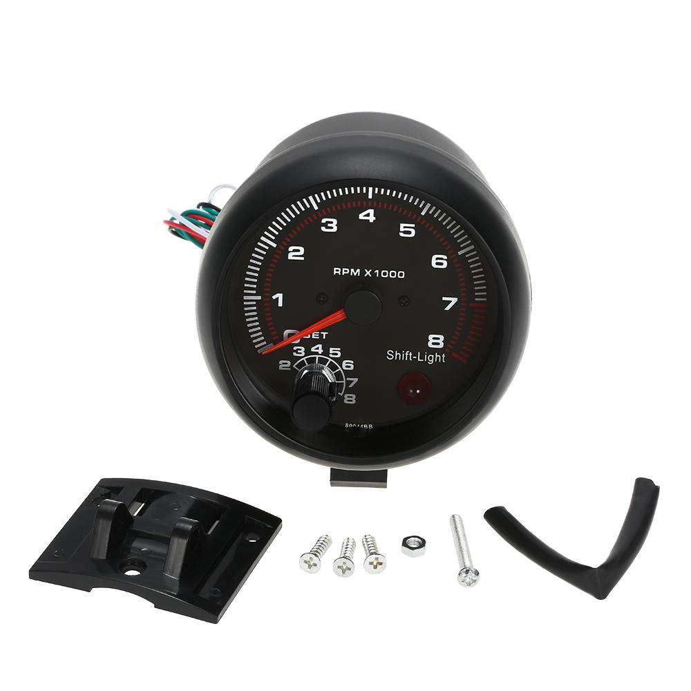 3.75in Tachometer RPM Gauge Backlit Tach Gauge 0-8000 for 4 6 8 Cylinder Tachometer with Adjustable Shift Light
