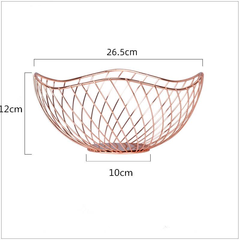 Electroplated Iron Wire Fruit Basket Snack Storage  Holder Household Tableware Rose gold_default