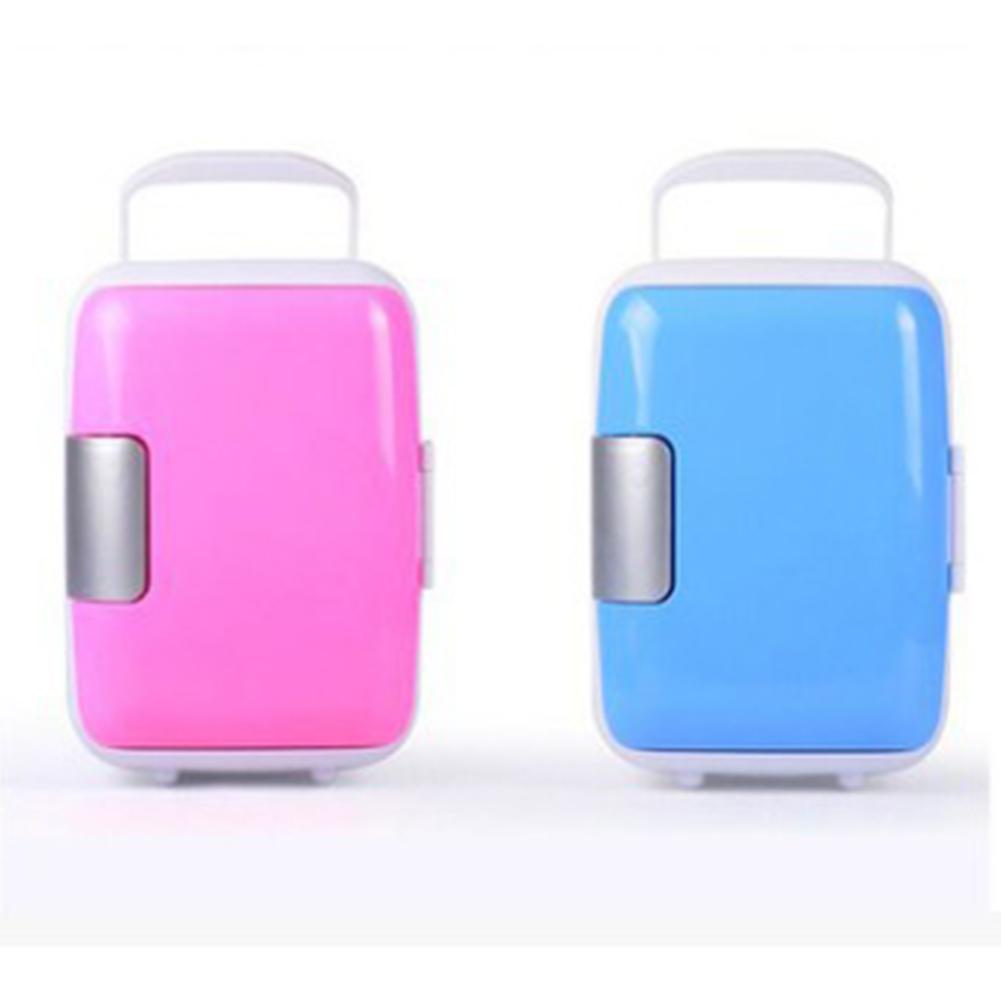 4L Mini Refrigerators Makeup Fridge Dual-Use for Car Outdoor Fishing Accesories Pink--car home