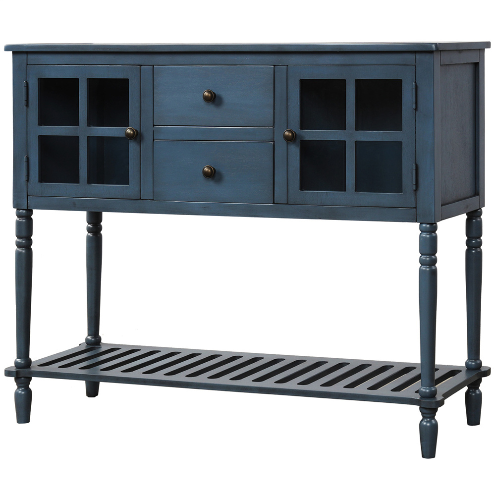 [US Direct] Sideboard Console  Table With Bottom Shelf Farmhouse Wood/glass Buffet Storage Cabinet Antique navy blue
