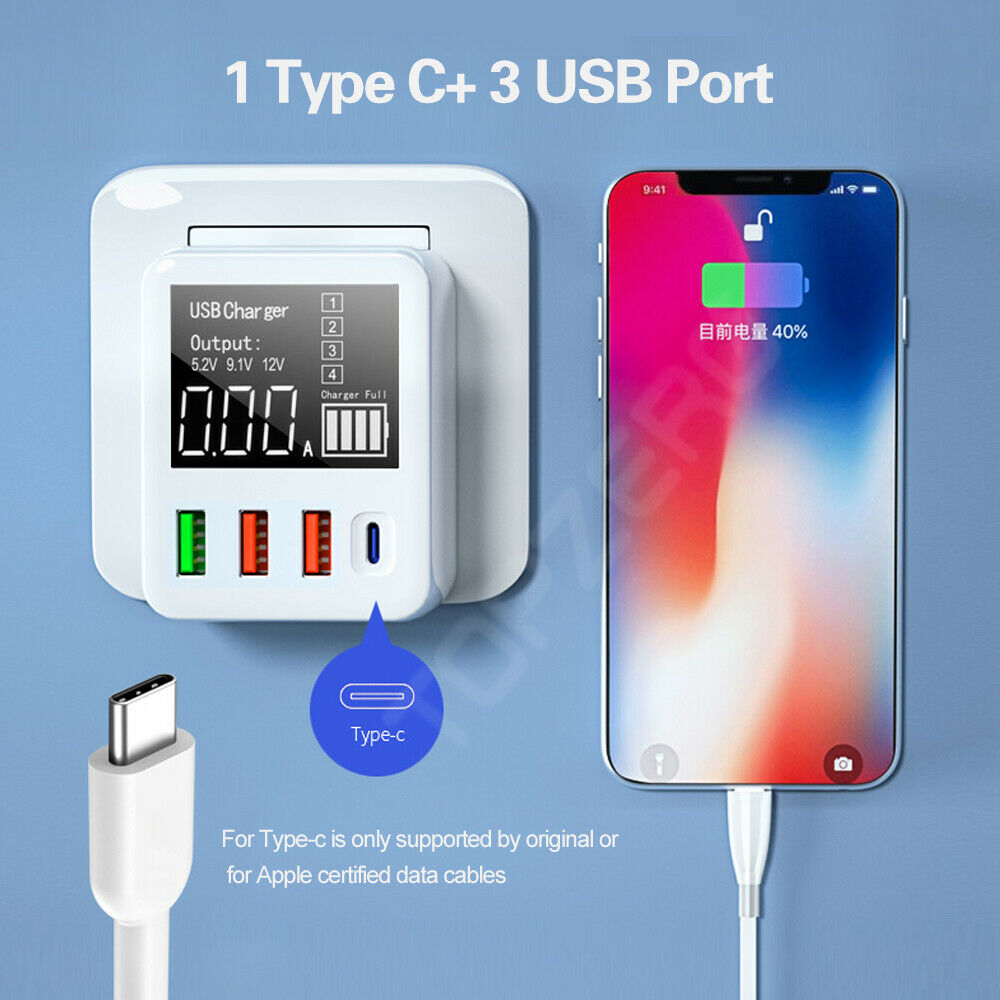 4-port USB Charger Type C Quick Charge Led Display QC3.0 Portable Charger for Moblie Phone Tablet UK Plug