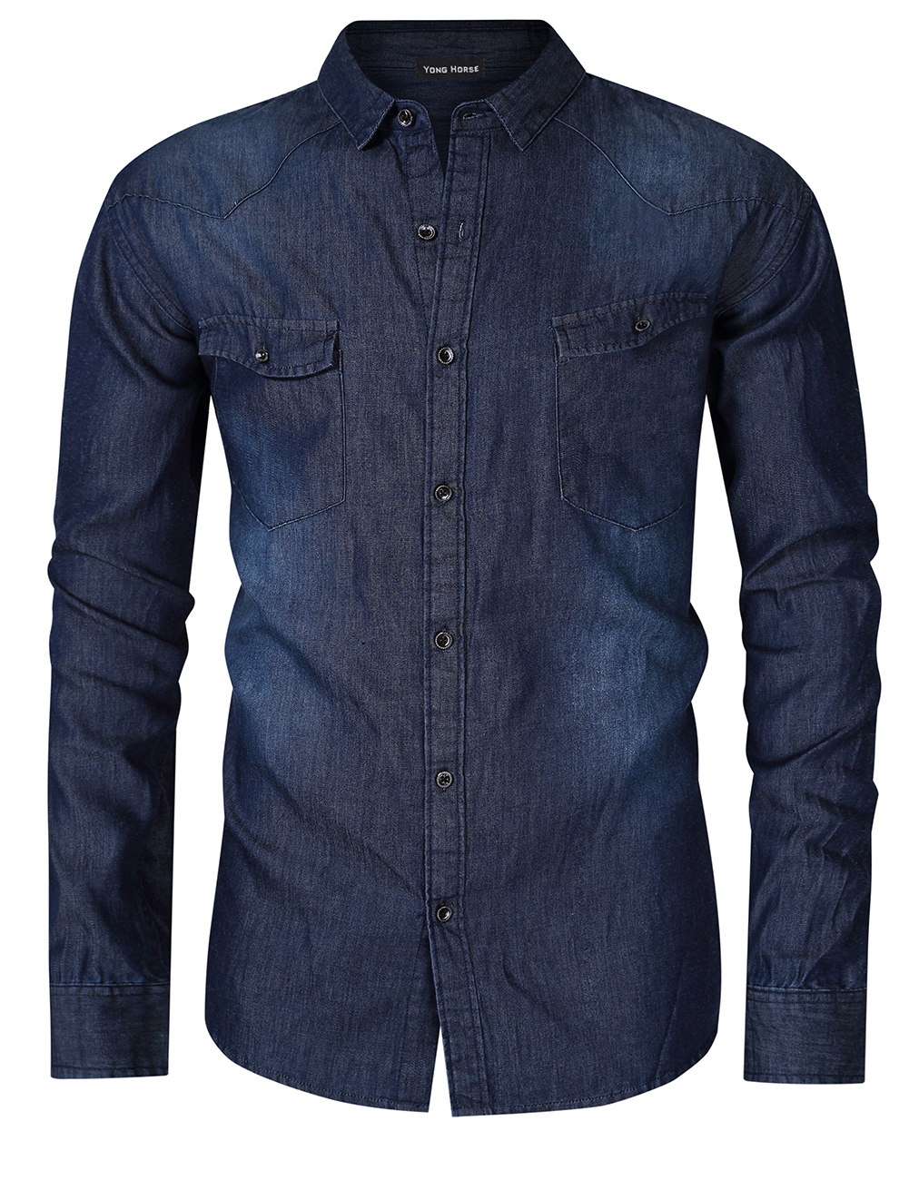 Yong Horse Men's Western Work Denim Shirt