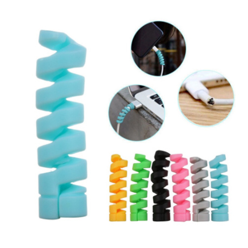 Universal  Silicone  Spiral  Data  Cable  Protective  Cover Anti-breaking Threaded Storage Cable Winder (Random Color) Random