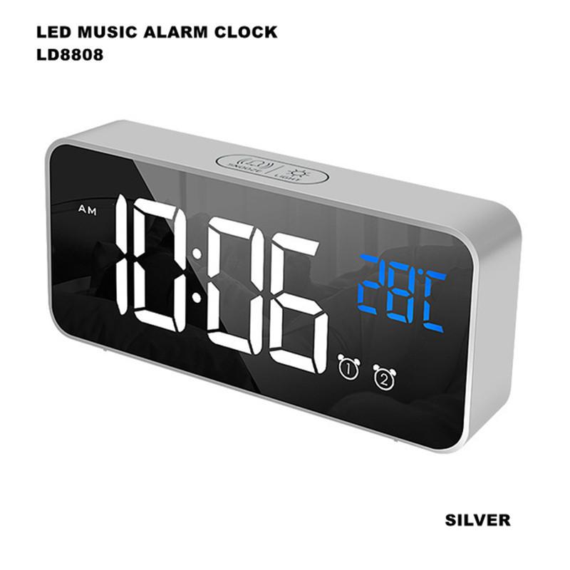 Home Digitabl Alarm LED for Study Office Bedroom Silver English