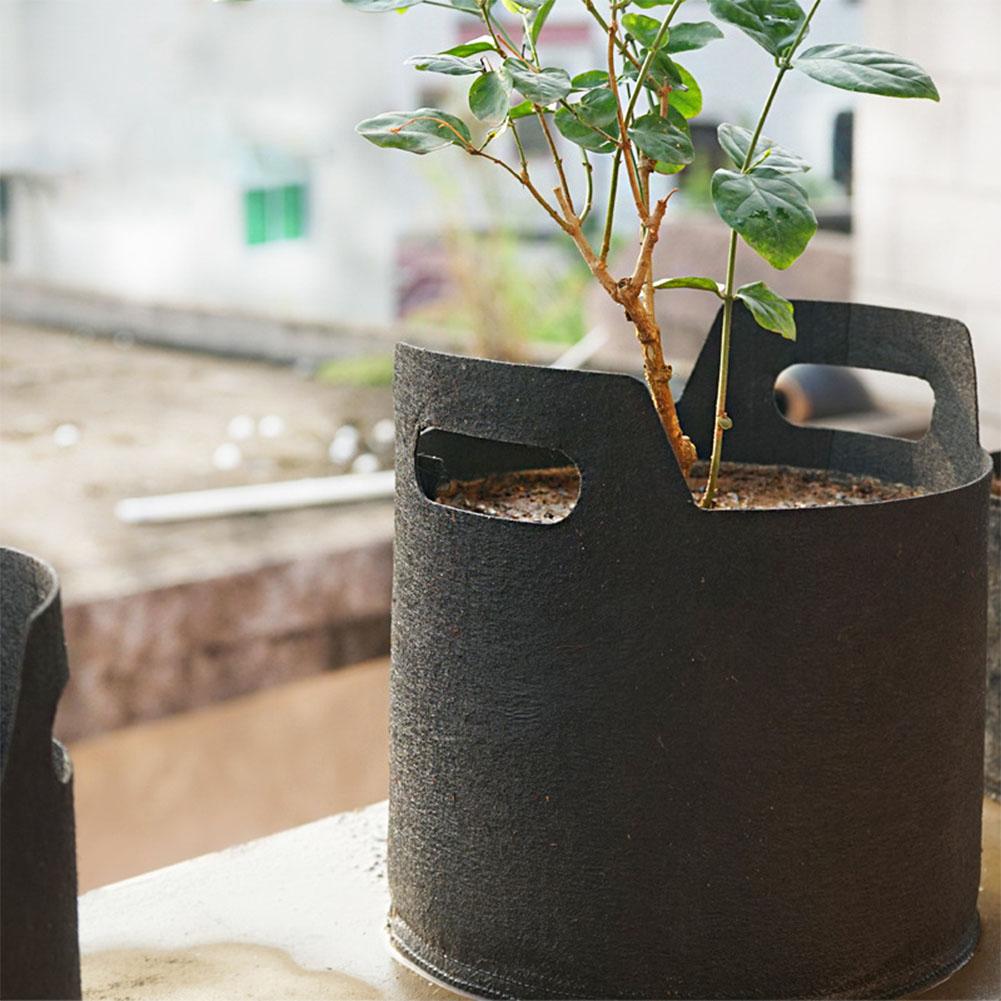 Gallon Black Fabric Aeration Grow Pots Breathable Planter Container Bags Vegetable Plant Growth Bag Black_3Gallon(25D*22H)
