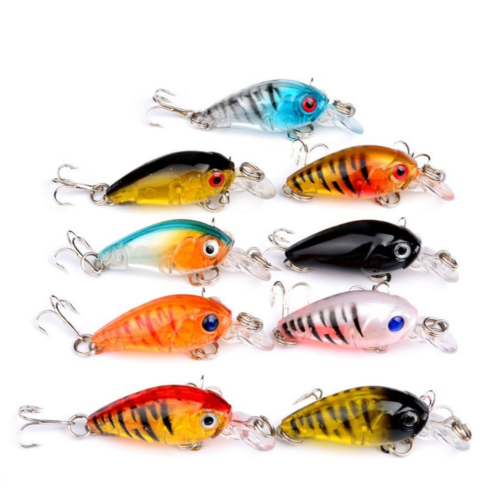 Lot 9pcs Plastic Fishing Lures Bass CrankBait Crank Bait Tackle 4.5cm/4g