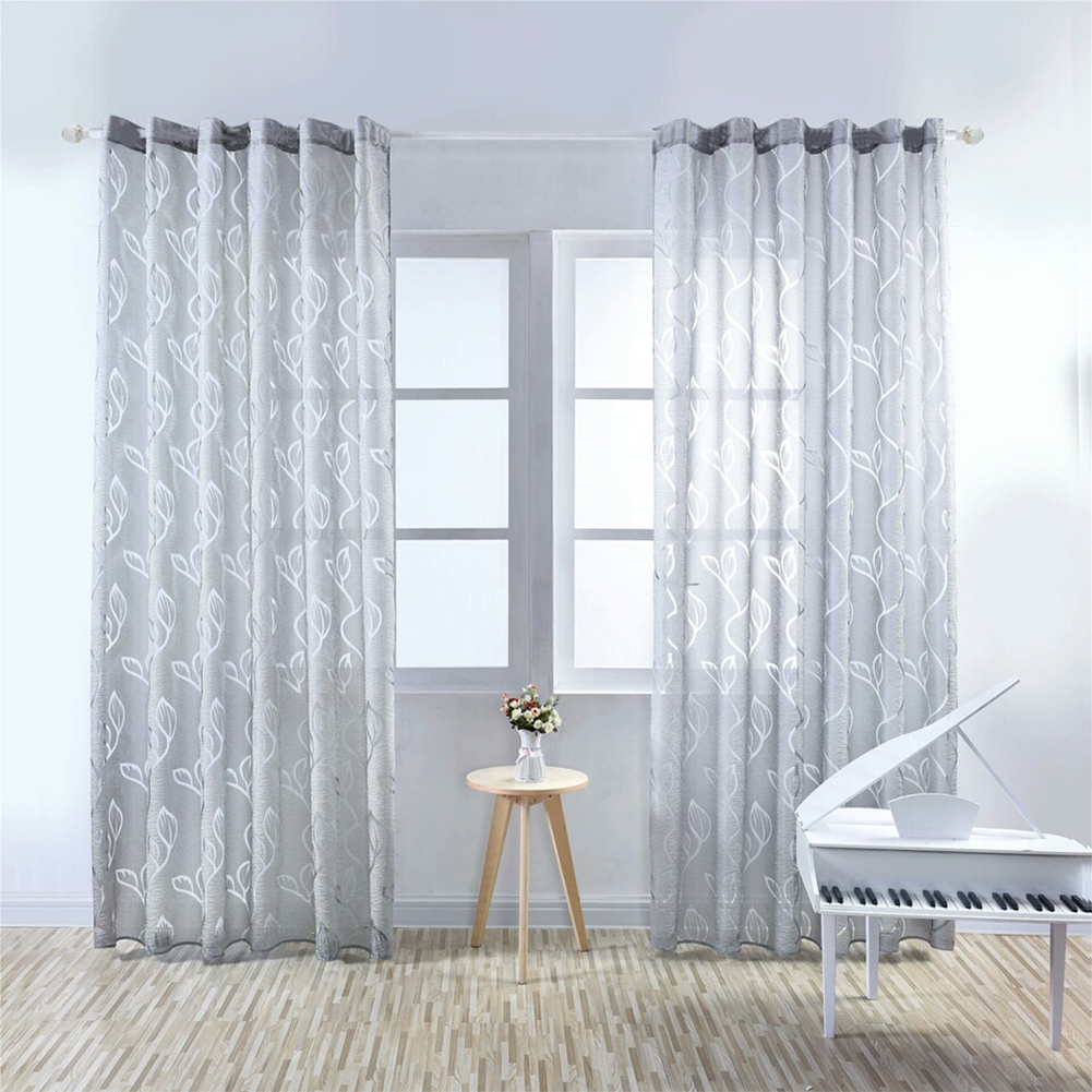 1PC Luxury Fashion Jacquard Leaf Semi-blackout Curtain Drape for Home Hotel Decoration  gray_100X250CM drilling section