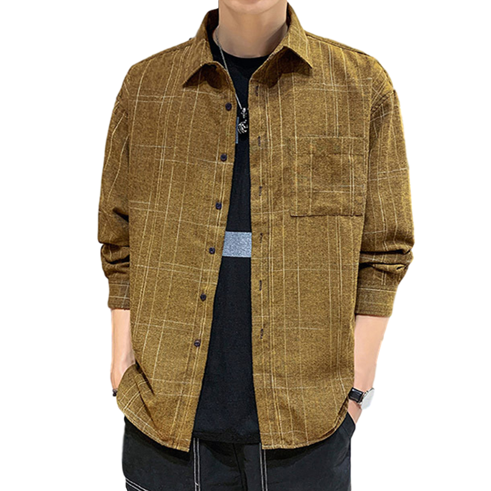 Men Plaid Printing Shirt Autumn Teenagers Loose Large Size Blouse Dark khaki_XL