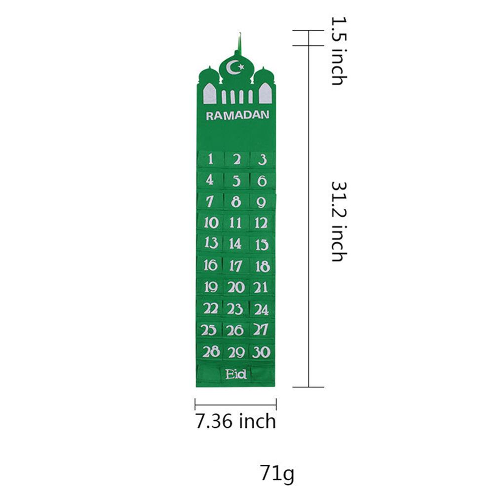 Cloth Calendar Storage Bag for Eid Ramadan Hanging Pendant green