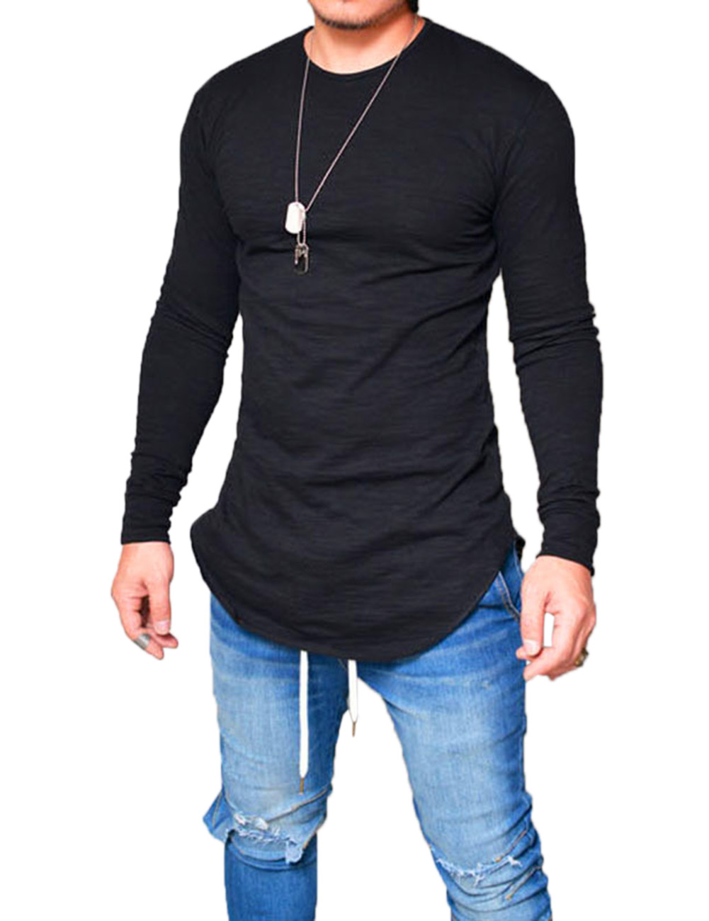 Men Casual Solid Color Round Neck T-shirt