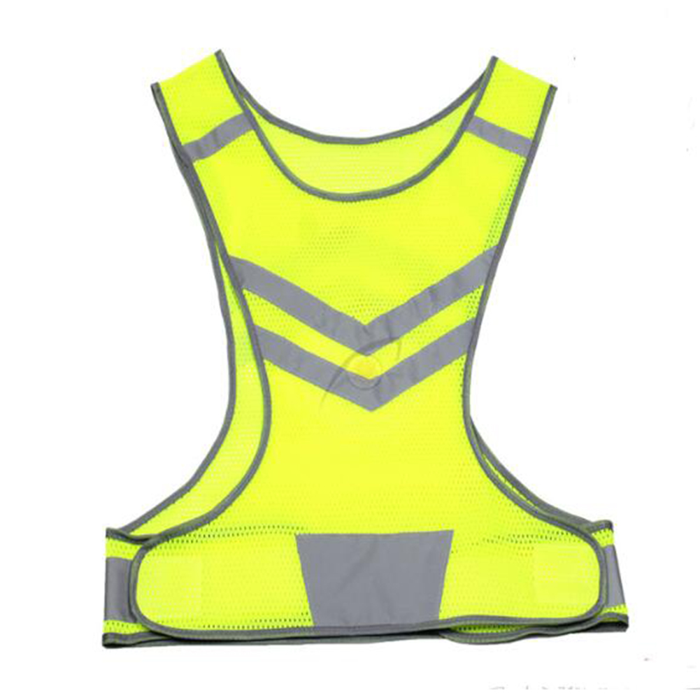 Reflective Safety Vest Luminous Mesh Waistcoat with Pocket for Night Running Cycling Sports Outdoor Clothes Yellow L