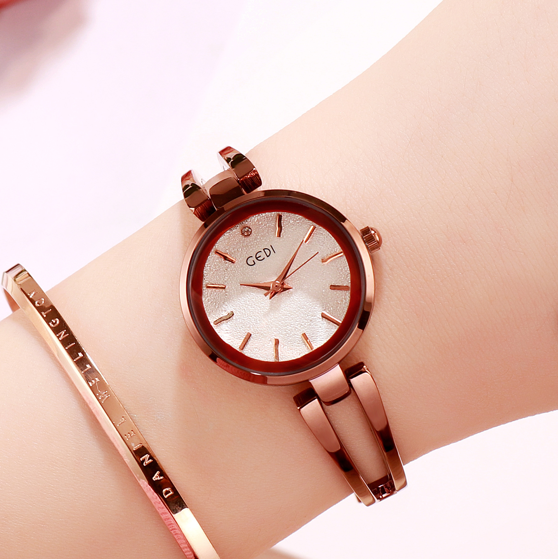 Women Stainless Steel Waterproof Bracelet Watch with Spiral Case for Casual Office  Coffee color shell white dial