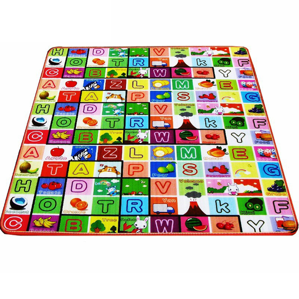 Thickened Double Sided PE Baby Crawling Creeping Kids Play Mat Soft Cartoon Children Activity Foam Floor Eco-Friendly Damp-Proof Gym Picnic Pad Fret 120*180*2cm