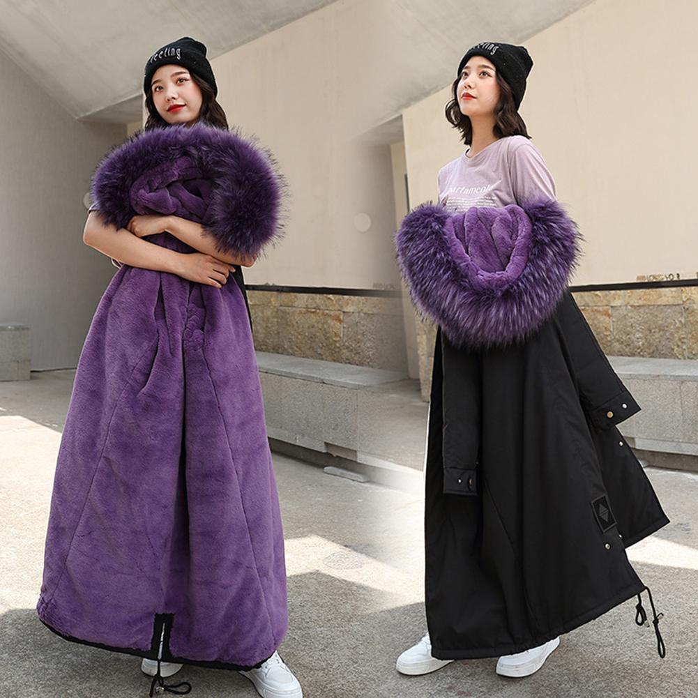 Winter Jacket Loose Waist Leisure Hooded Lining Lamb Wool Cotton Suit Woman Female Coats Black + purple_XL