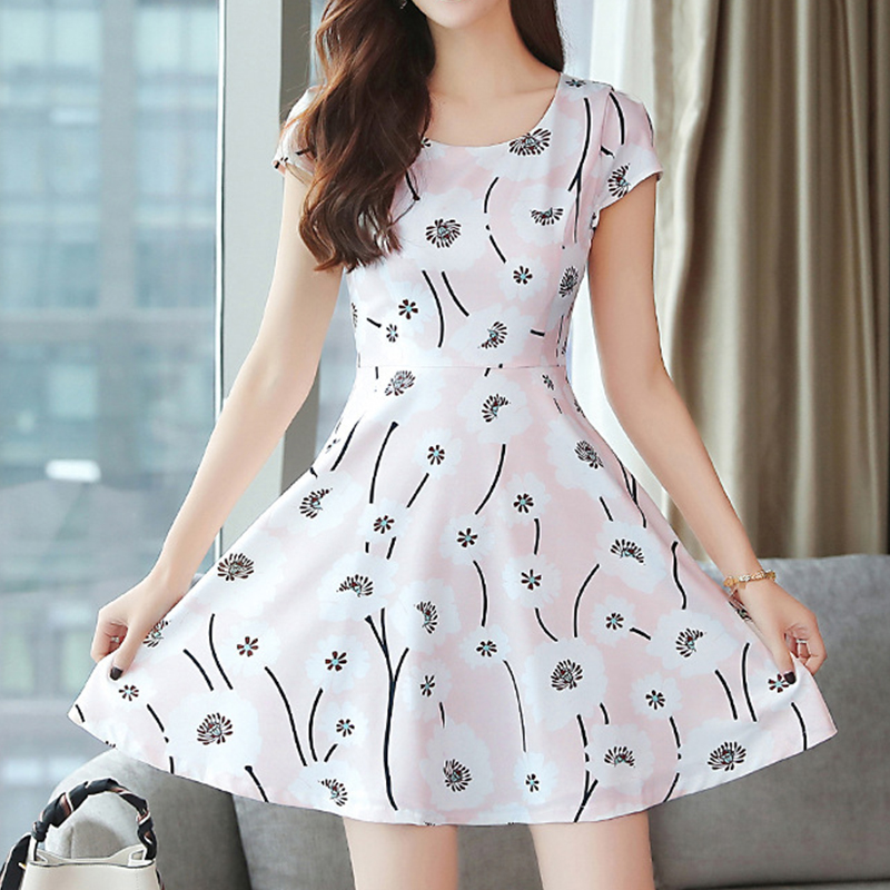 Women Summer Fashion Floral Slim A-line Mid-length Dress Photo Color_2XL
