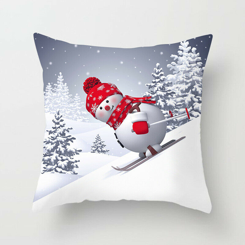 45*45cm Christmas Xmas Decorative Snowman Polyester Cushion Pillowcase Pillow Cover for Bedroom Living Room H