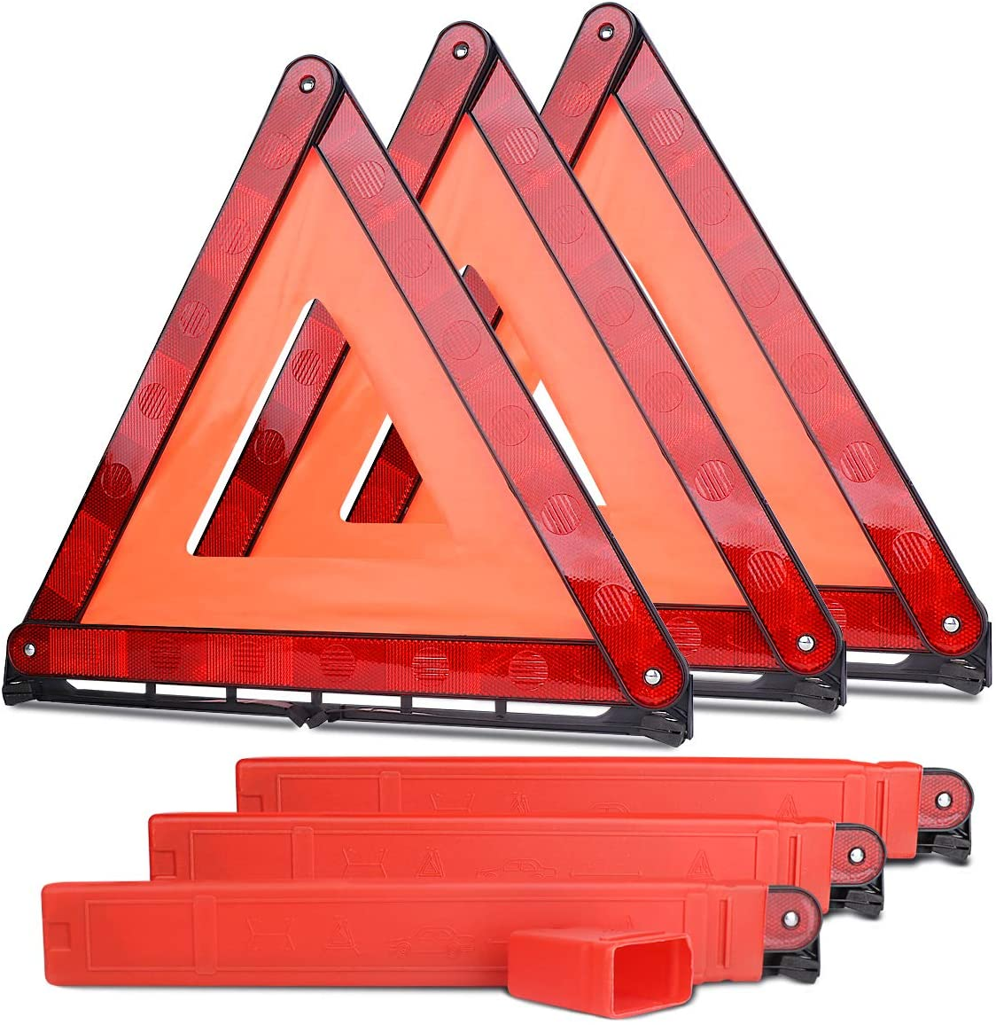 3pcs Safety Triangle Kit Road Emergency Warning Reflector Roadside Reflective Early Warning Sign Red_3 pieces