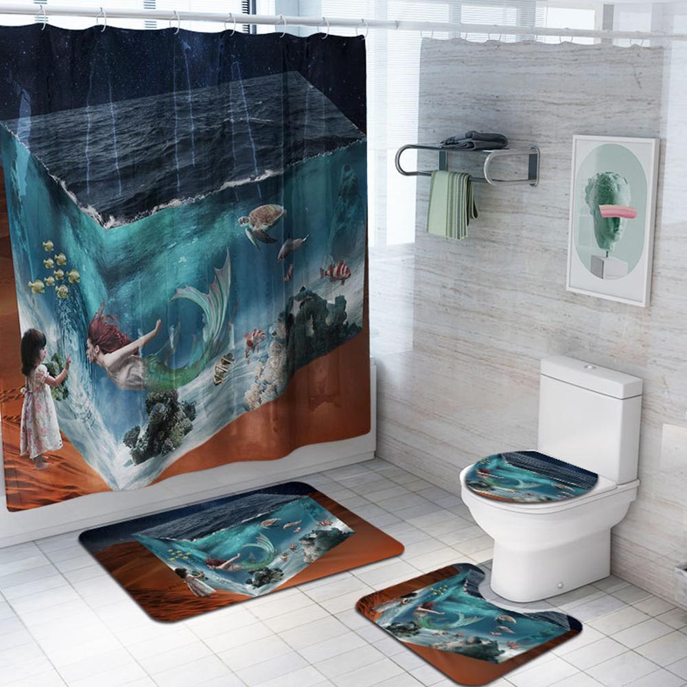 4Pcs/Set Mermaid Print Shower Curtain with Non-Slip Rugs Toilet Lid Cover Bath Mat 1#_As shown