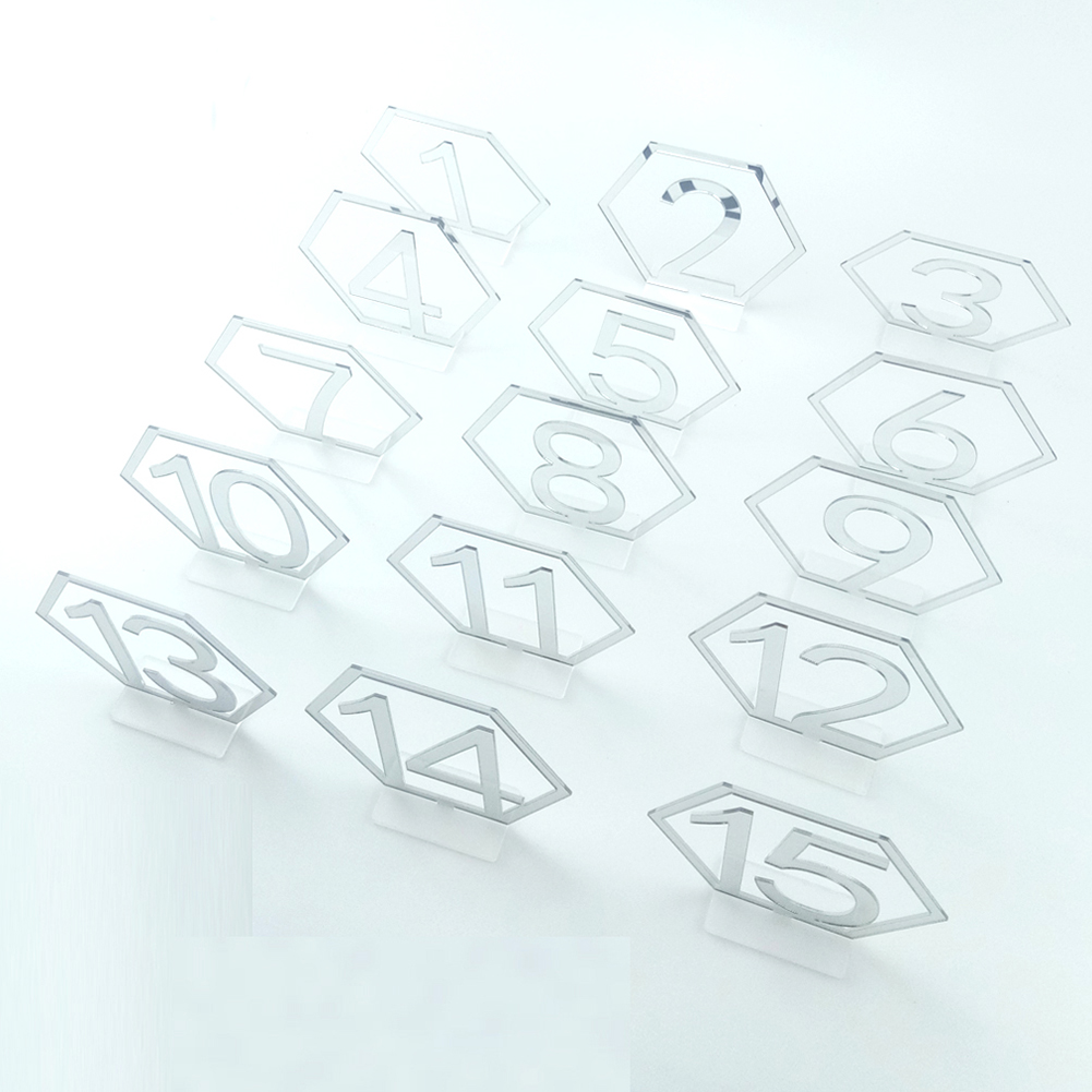 1-15 Hexagon Table Number Signs Acrylic Mirror Number Symbols for Wedding Party Decoration Silver