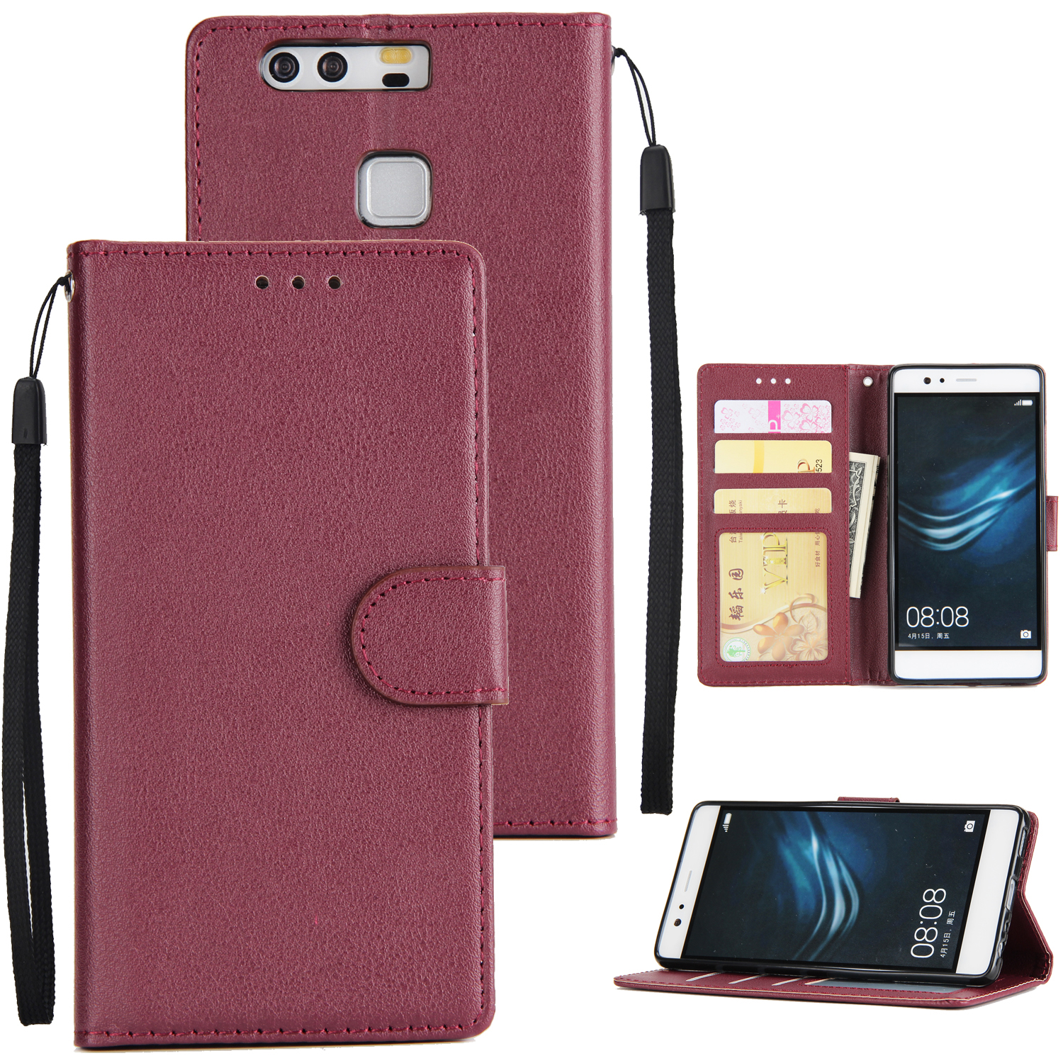 For Huawei P9 plus PU Leather Smart Phone Case Protective Cover with Buckle & 3 Card Position  wine red
