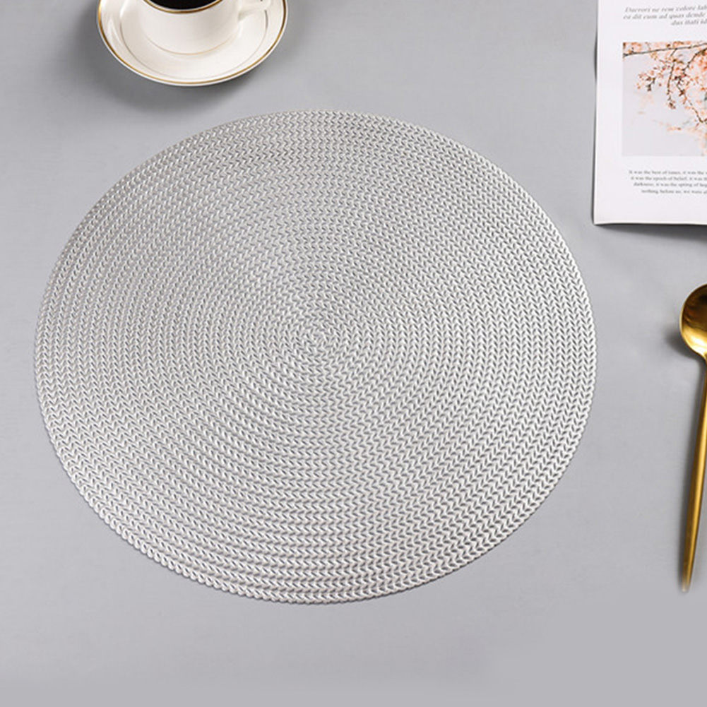 Round Heat Insulation Placemat for Hotel Restaurant Steak Plate silver white