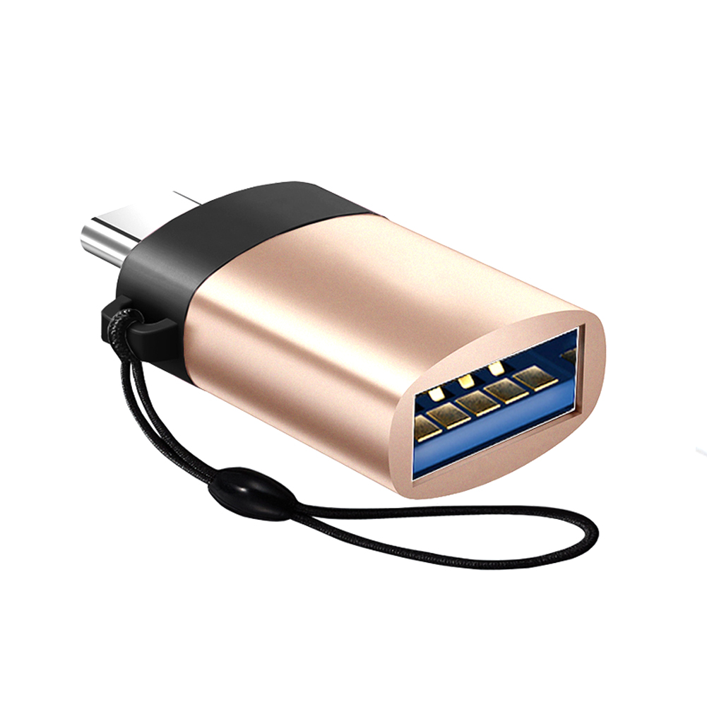 USB C Adapter Type C Adapter USB 3.0 OTG Aluminum Alloy Converter with Keychain gold
